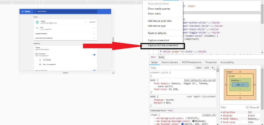 capture full page screenshot option