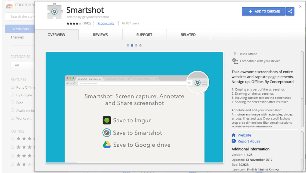 screenshot of the Smartshot extension in google chrome web browser