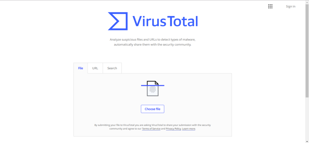 upload a file to Virus total