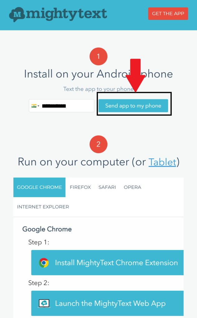 send install request to android smartphone