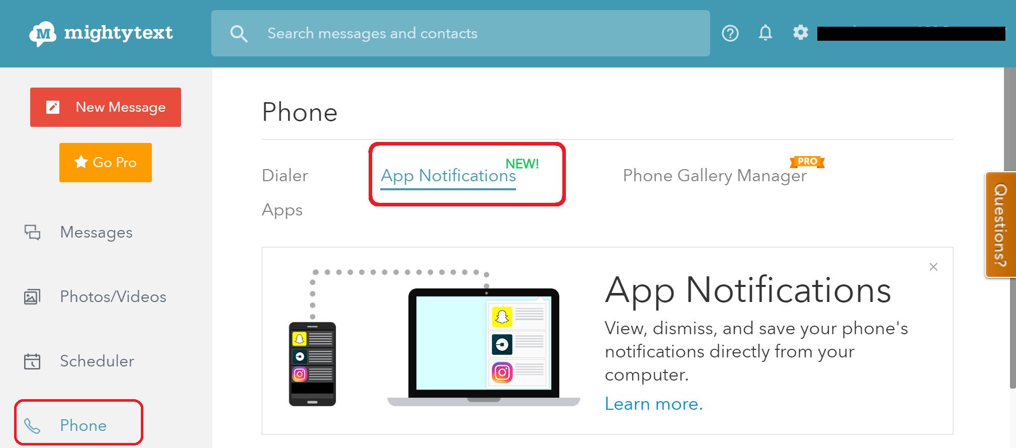 mightytext app notifications