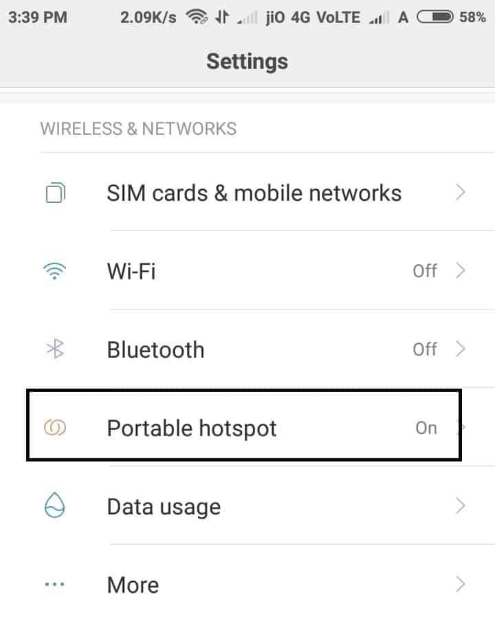 Portable hotspot setting window