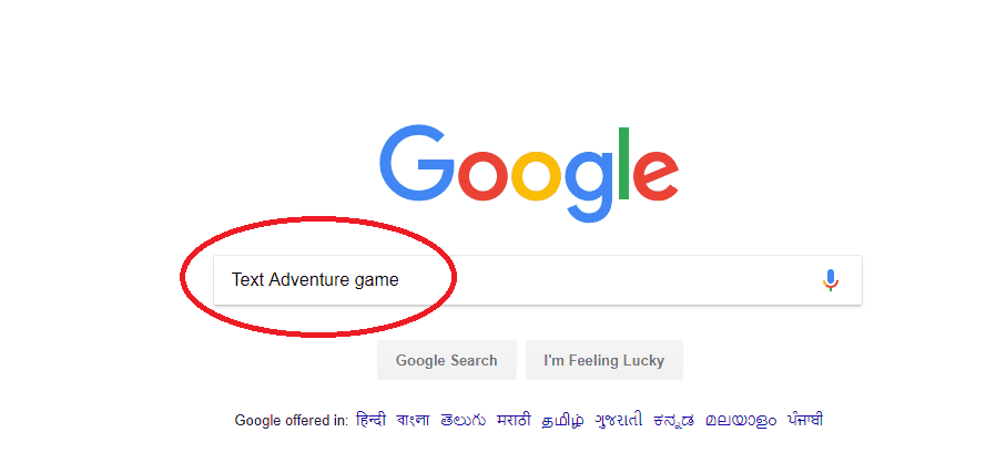Text Adventure game typed in google search bar