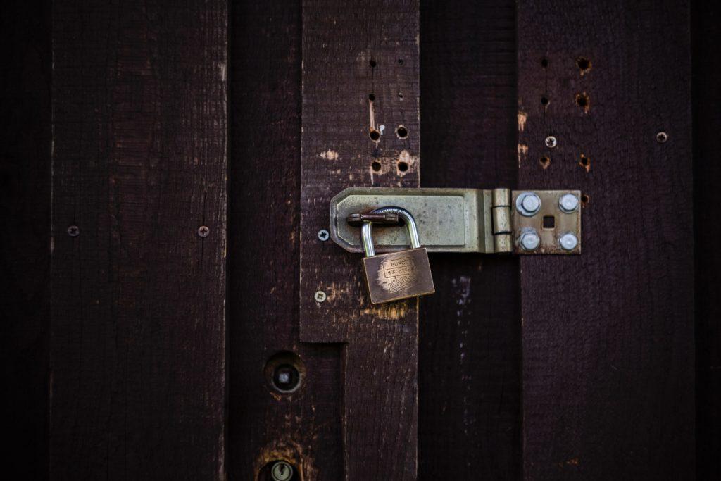 Door locked by a lock