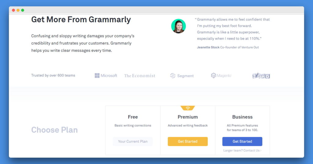 Grammarly website introductory page