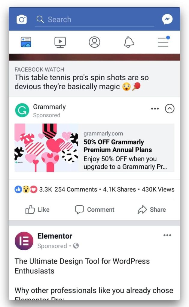 Image showing the discounted grammarly sponsored plan ad on Facebook
