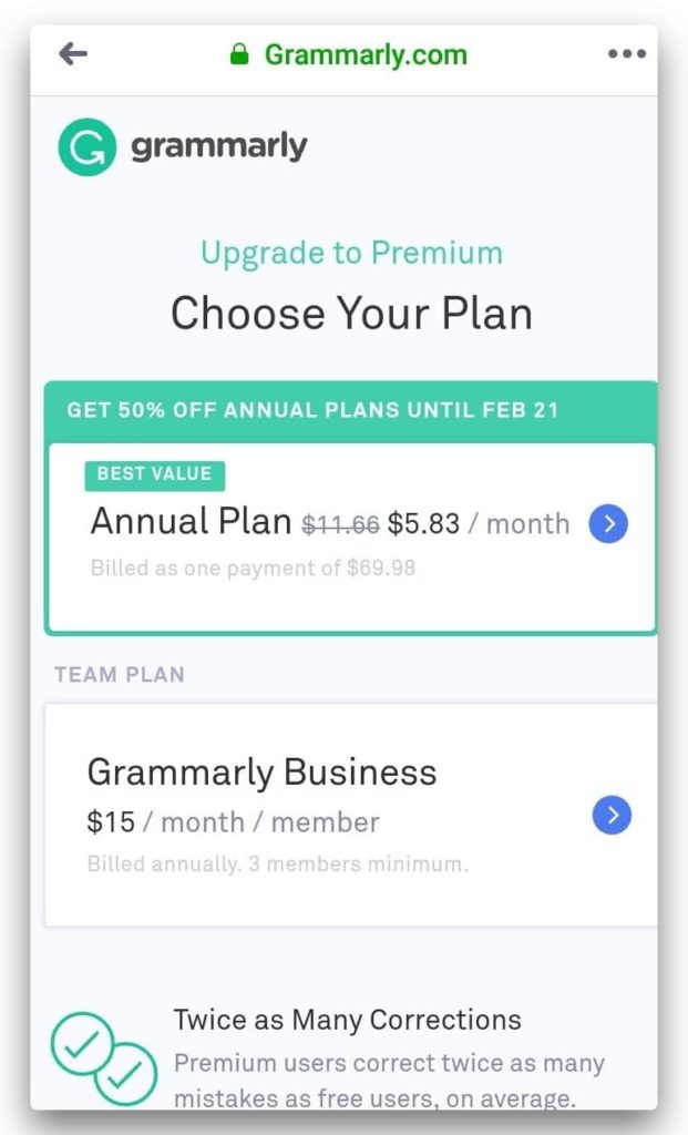 Image showing the grammarly paid plans comparing between annual plan and grammarly business plan
