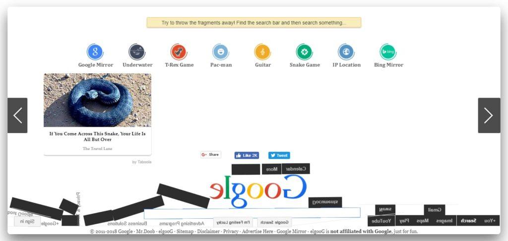 Google gravity feature window