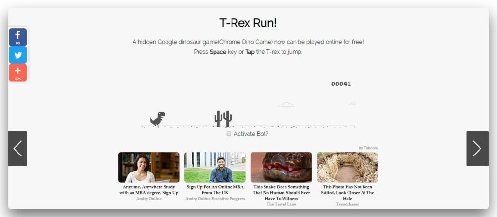 T-Rex dinosour game by google