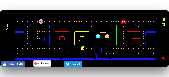 Pac Man game with a maze made of Google's letters