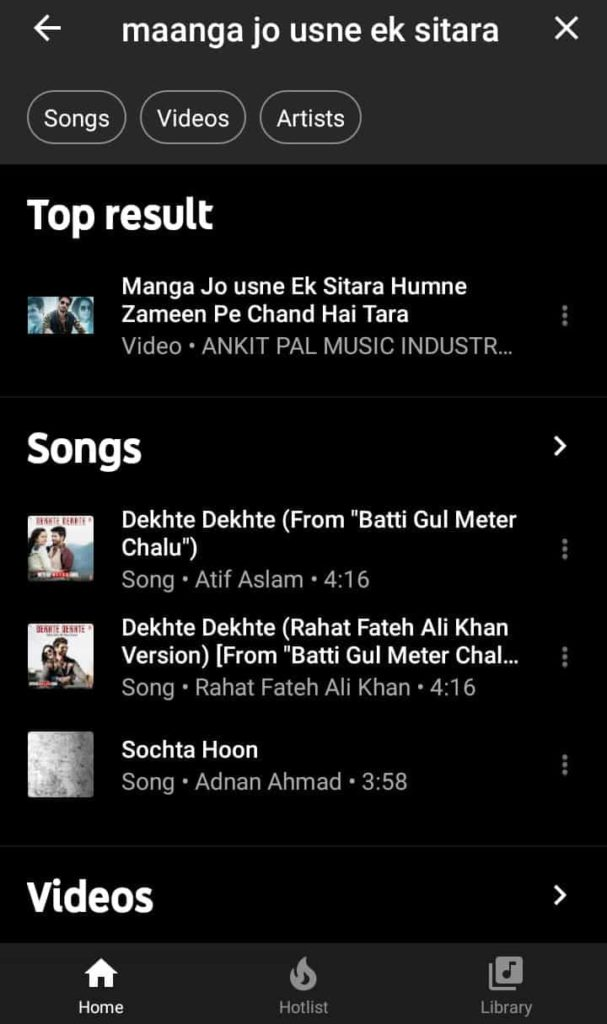 Maanga Jo Usne Ek sitara lyric search result on the YouTube Music app