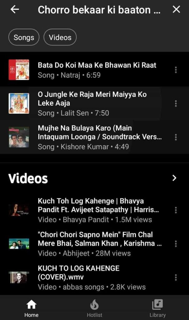 Kuch to log kahenge song lyric search result on the Youtube Music App