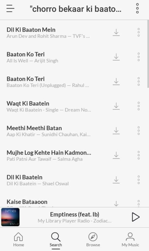 Chorro bekaar ki baaton song lyric search result on Jio Saavn Music App