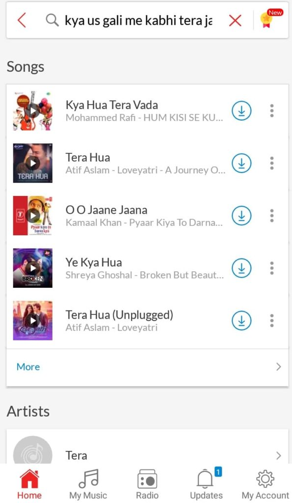 Kya Us gali me kabhi tera jaana hua song lyric search result on wync  Music app