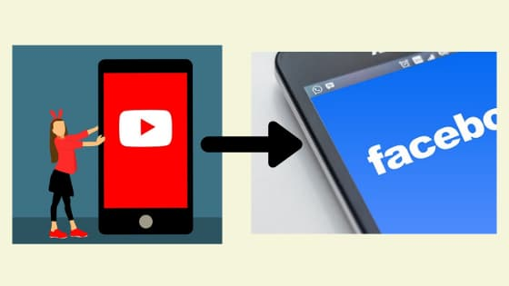Two images one featuring YouTube logo embedded in a mobile phone and other featuring Facebook logo embedded in other mobile handset device connected with a graphical arrow.