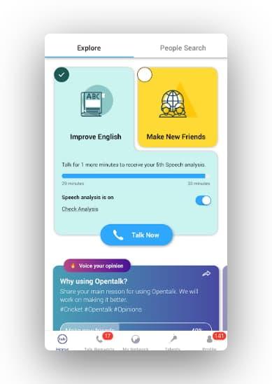 Open Talk app interface