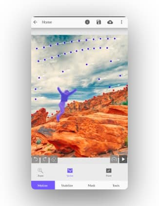The front interface of the app showing some mountains and an animated character