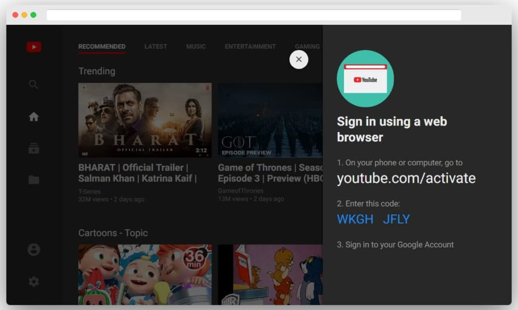 YouTube TV activate web interface of YouTube TV web app