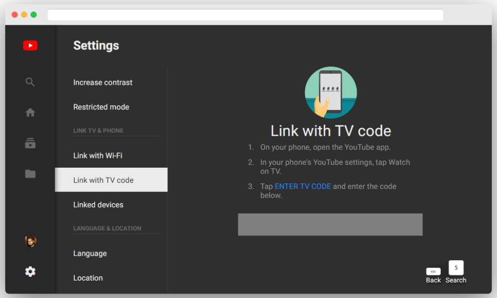 Link with TV code web interface of YouTube TV web app