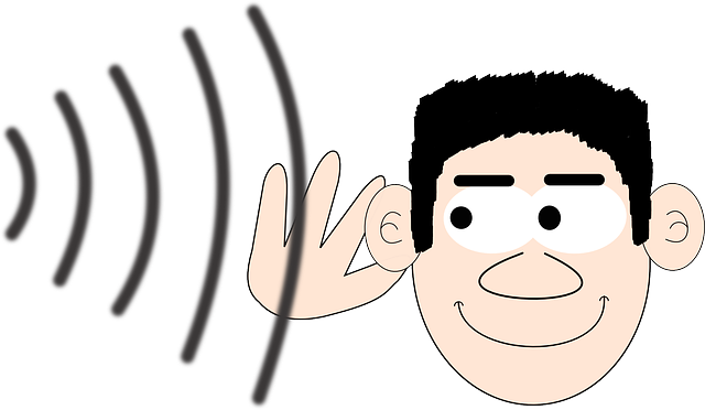 An animated human character listening to sound waves