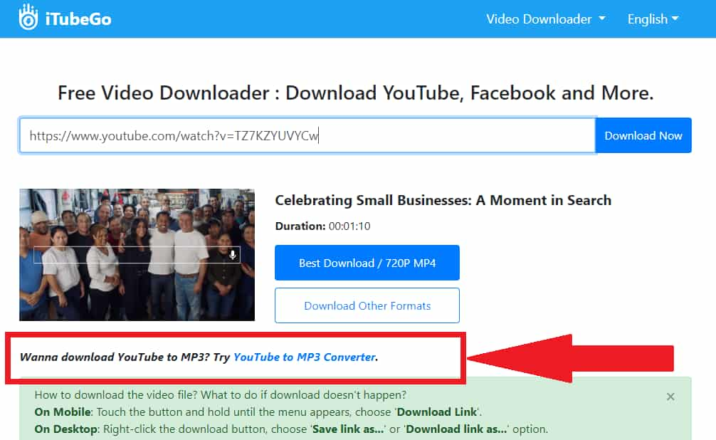 Screenshot showing the link to another site that will convert the video to MP3 format.
