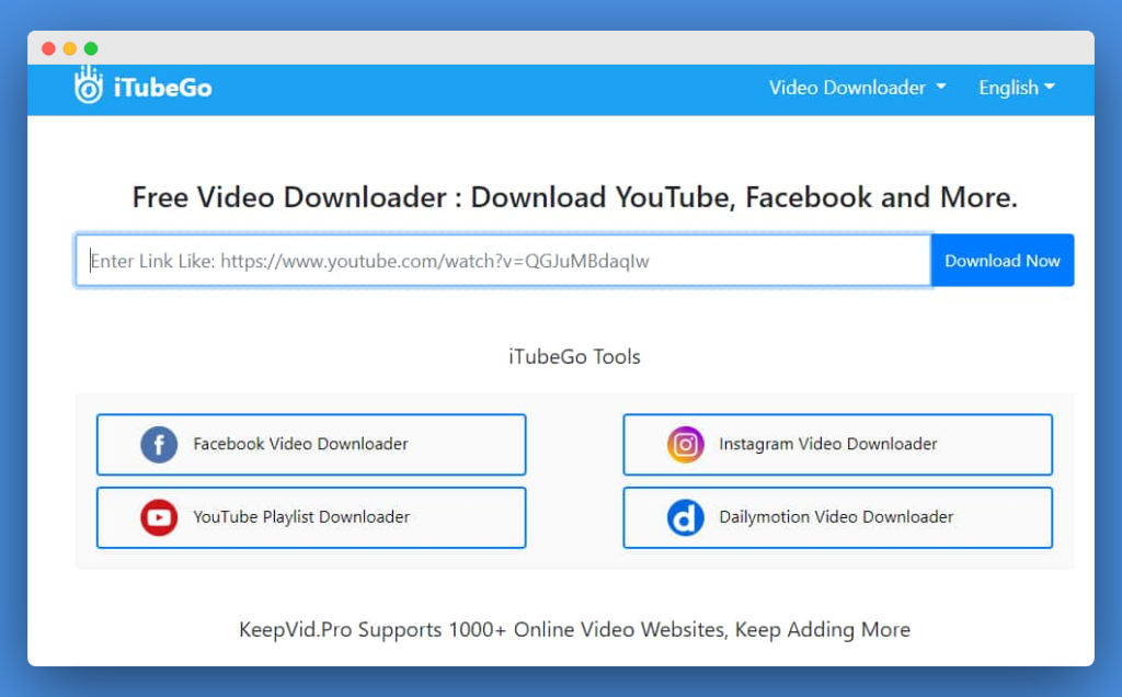 KeepVid.pro main page - An online site that helps you download internet videos online for free.