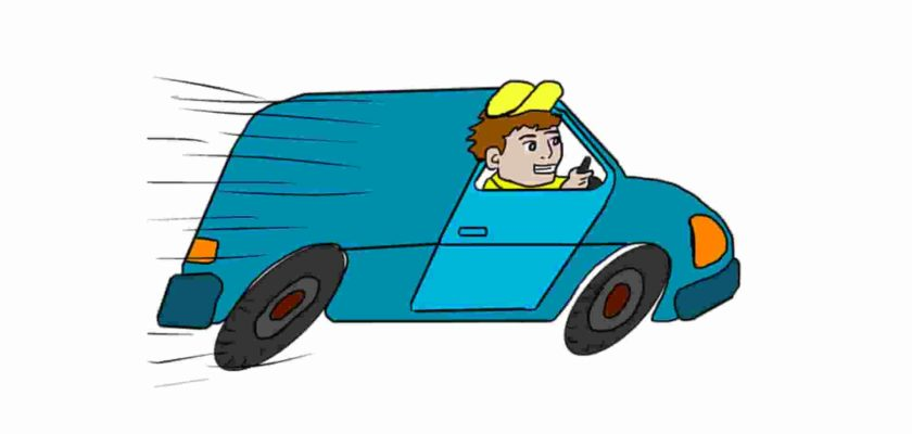 Animated image in which a boy is fast driving a car