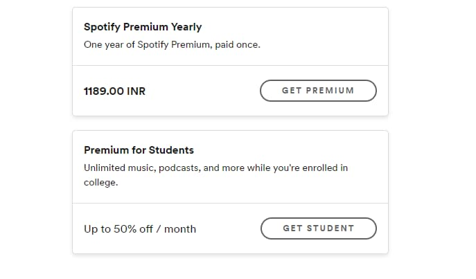 Screenshot showing the Spotify's student discount offer section.