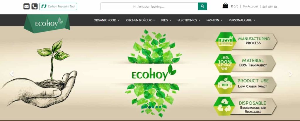 Ecohoy: The eco-friendly website landing page screenshot.