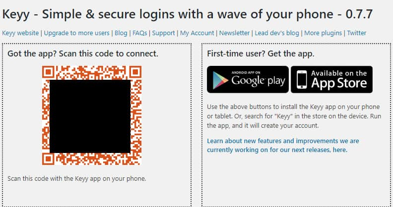 Keyy QR code to connect the plugin with the app.