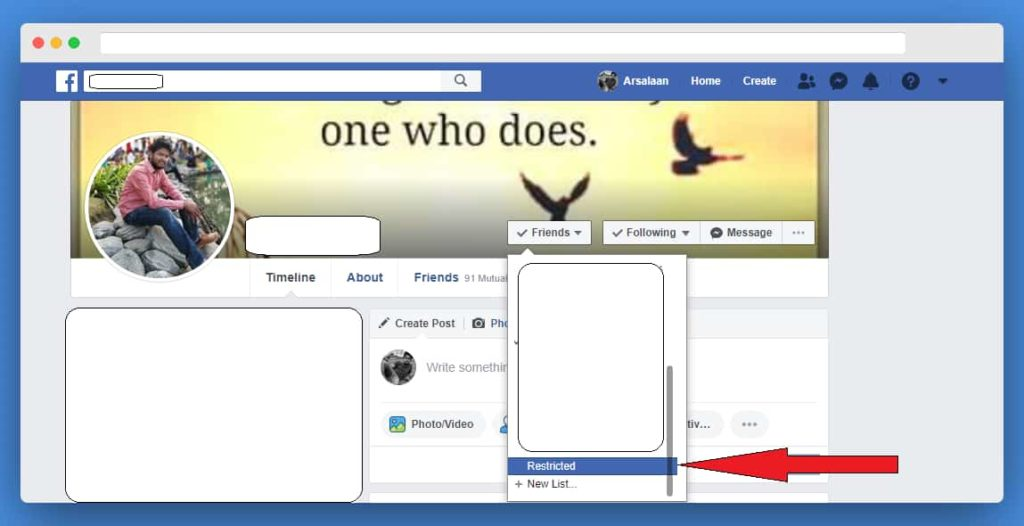Picture demonstrating how to hide facebook posts from specific people - the restricted list feature of Facebook on desktop version.
