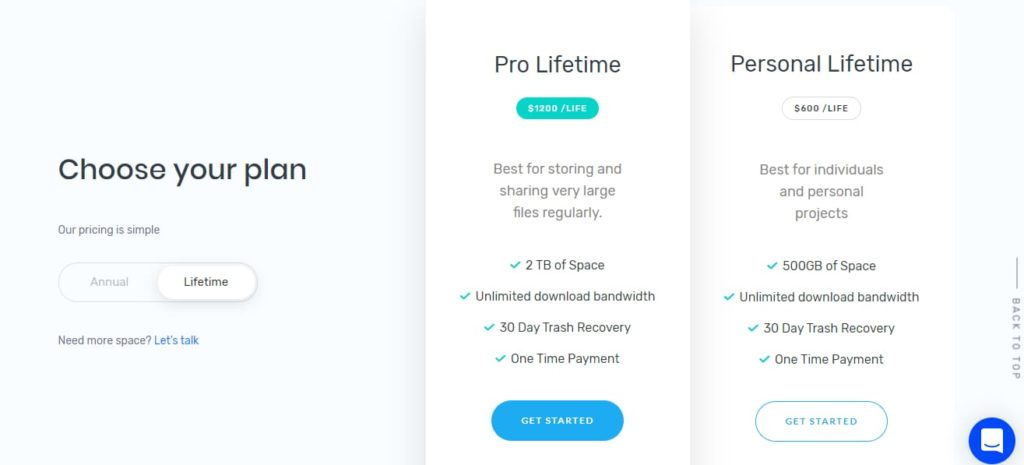 ThunderDrive online cloud storage service lifetime plan rates