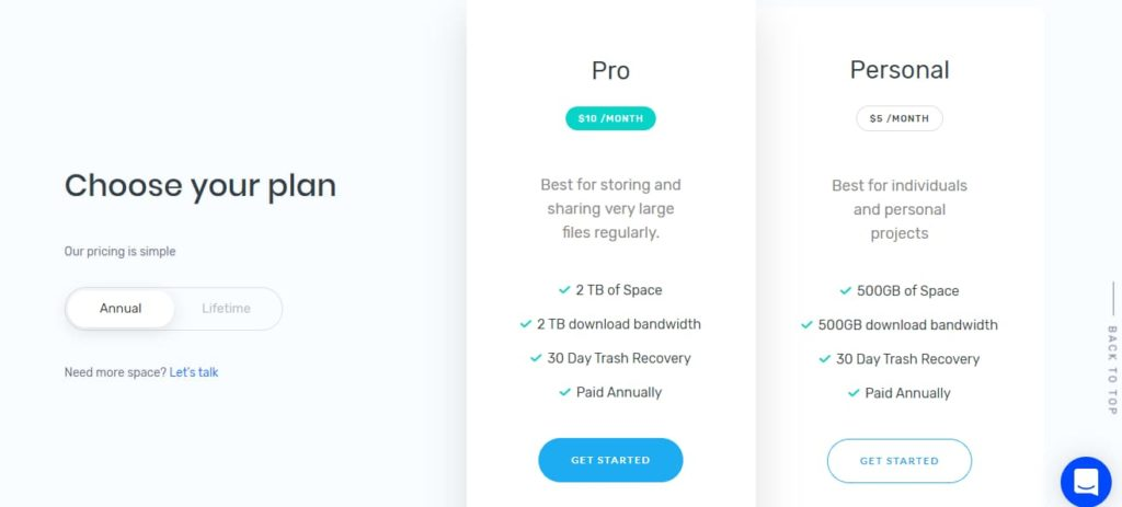 ThunderDrive online cloud storage service annual plan
