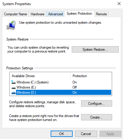 System Properties > System Protection > Select Drive > Configure