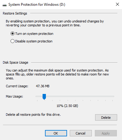 Turn on System protection and adjust the Disk Space Usage under System Protection for the desired Drive.