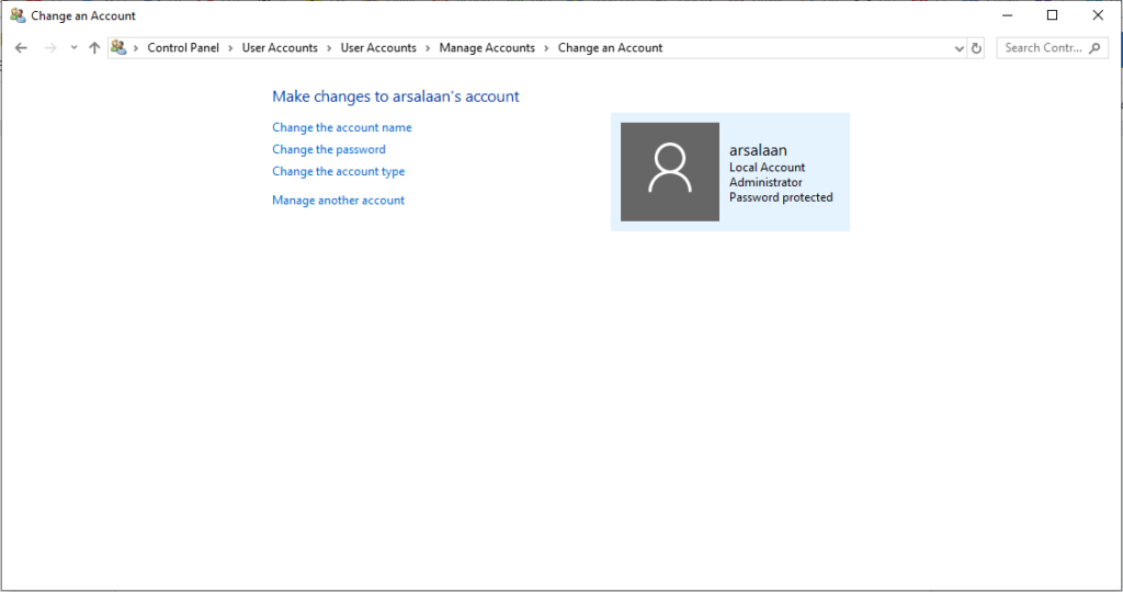 control panel>user accounts>manage accounts>change in account