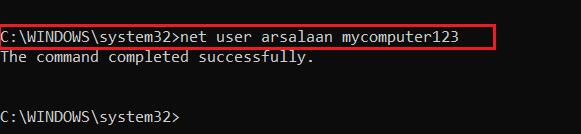command prompt - net user username password
