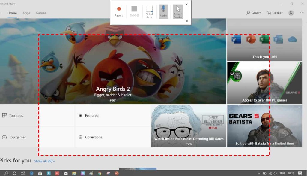 A demonstration of the recording screen with powerpoint showing the pop up that has start/stop, select screen area, audio, pointer options.