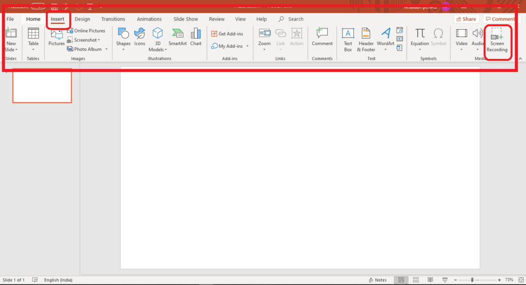 Microsoft powerpoint blank page showing the top menu bar