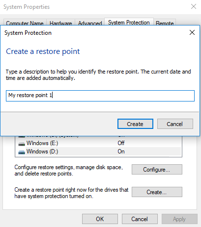 Create a Restore Point > Name it > select create.