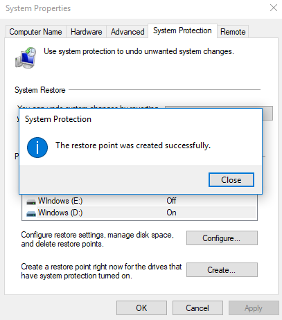 Restore Point successfully created dialogue box.
