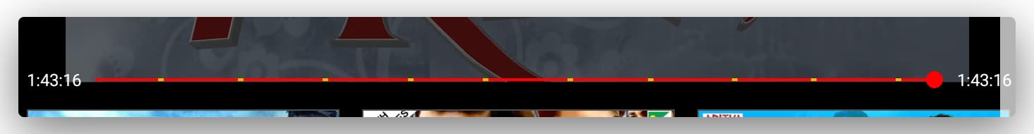 An image snippet showing the embedded yellow patches on the seek bar of YouTube depicting multiple ads. The seek bar is dragged to the end.