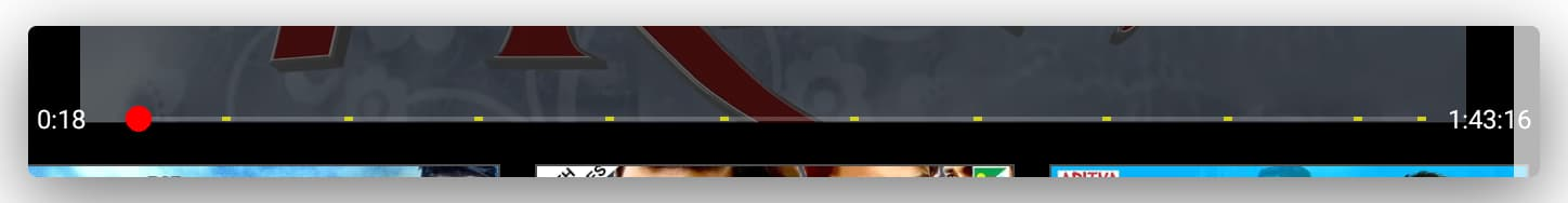 An image snippet showing the embedded yellow patches on the seek bar of YouTube depicting multiple ads.